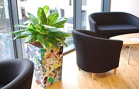 recyled planters with hydroponics