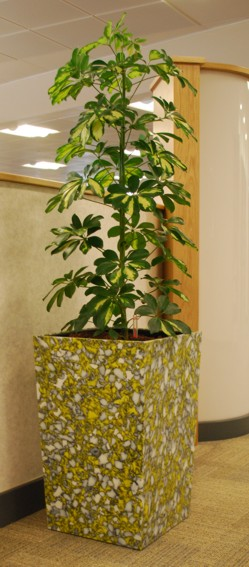 recycled plastic plant pot made from plastic gas pipe